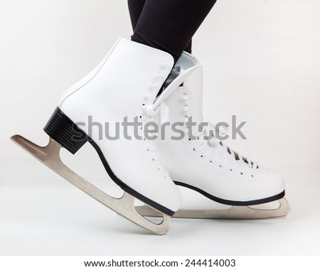 Detail of ice skates - stock photo