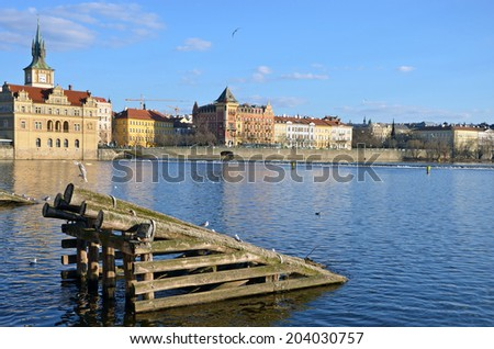 Detail of icebreaker before the pillar of the Charles Bridge, Prague - stock photo