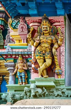 Detail  of indian Meenakshi  temple . India, Madurai, Tamil Nadu - stock photo