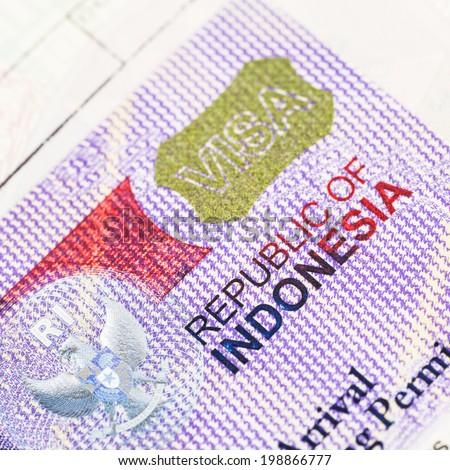 Detail of 2014 Indonesia Visa on passport - stock photo
