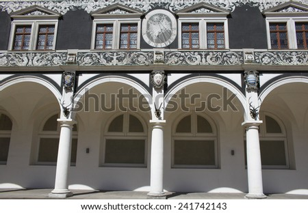 Detail of inner side of Stallhof palace in Dresden, Germany - stock photo