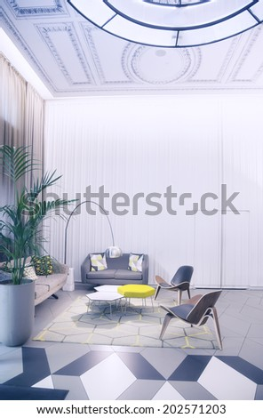 detail of interior in classic London hotel - stock photo