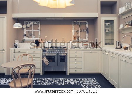 detail of interior of home kitchen - stock photo