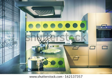 detail of interior of  kitchen in contemporary style - stock photo