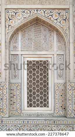 detail of Itmad-ud-daulahs tomb in Agra in Uttar Pradesh, India - stock photo
