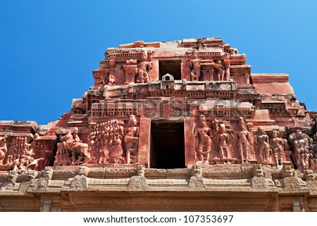Detail of Krishna temple, Hampi, Karnataka state, India - stock photo