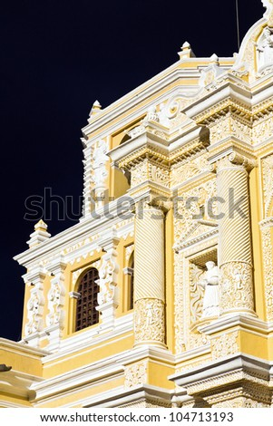Detail of La Merced Church in Antigua. Seen late afternoon with dramatic sky. - stock photo