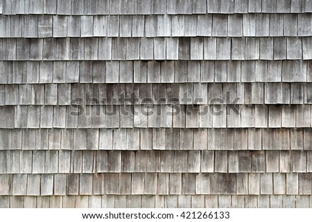 Detail of Larch wood tiles, traditional construction in Chiloe - stock photo