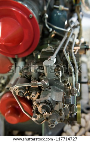 detail of large aircraft jet exposed. - stock photo