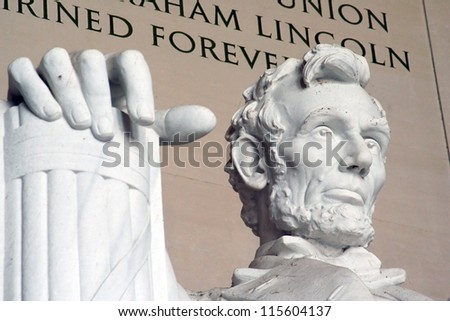 Detail of Lincoln Memorial - stock photo