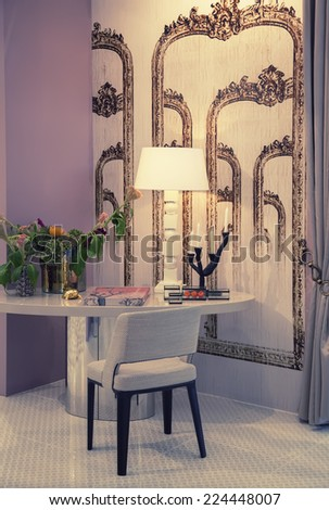 detail of living room with work table  - stock photo