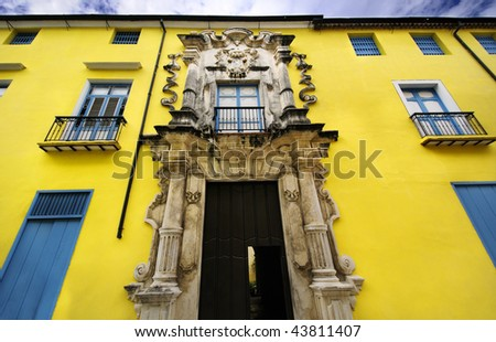 Detail of luxurious entrance on Havana building facade, Obrapia House - stock photo