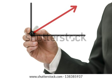 Detail of male hand drawing business graph with red rising arrow. - stock photo