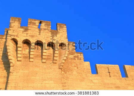 Detail of medieval walls surrounding the old town of Avignon, Provence, France - stock photo