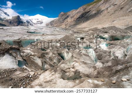Detail of melting Glacier Grossglockner in Austria - stock photo