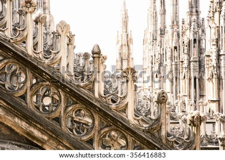 Detail of Milan cathedral (Duomo di Milano), Italy. Architectural theme. - stock photo