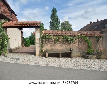 detail of Mittelbergheim, a village of a region in France named Alsace - stock photo