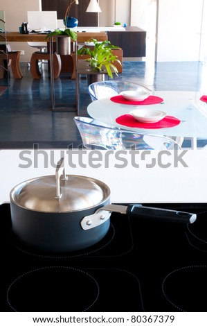 Detail of modern kitchen interior - stock photo