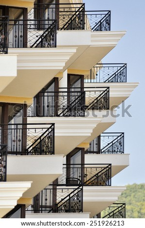 Detail of modern resort architecture building - stock photo