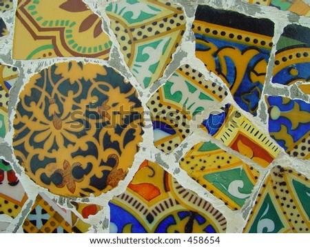 Detail of mosaic wall - stock photo