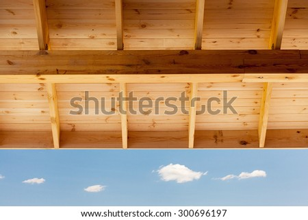 Detail of new roof on house under construction - stock photo