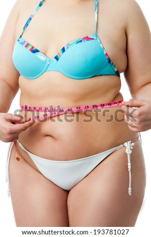 Detail of obese female body with measuring tape.Isolated on white background. - stock photo