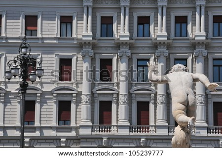 Detail of old building in Trieste, Italy - stock photo