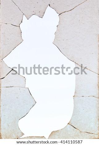 Detail of old dirty broken window pane - stock photo
