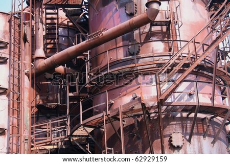 Detail of Old Gasworks at Seattle Washington Park - stock photo