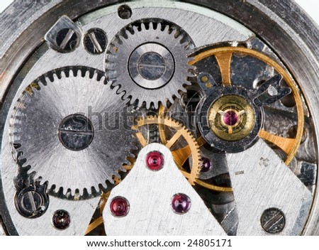 Detail of old wristwatch mechanism - stock photo