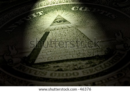 Detail of one dollar bill with dramatic light - stock photo