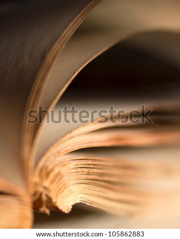 Detail of pages of an old book - stock photo