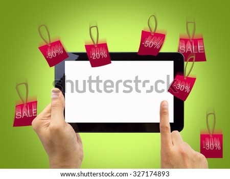detail of people go shopping online with discounts - stock photo
