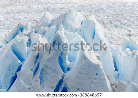 Detail of Perito Moreno glacier in Los Glaciares National Park, Argentina - stock photo
