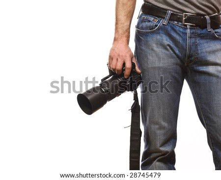 detail of photographer isolated on white background - stock photo