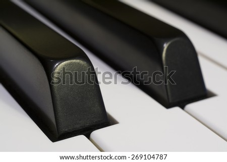Detail of Piano Keys Horizontal Close-up Photograph - stock photo