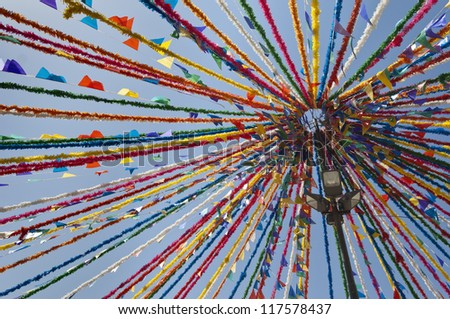 Detail of portuguese street traditional decorations in a summer festival, Alentejo, Portugal - stock photo