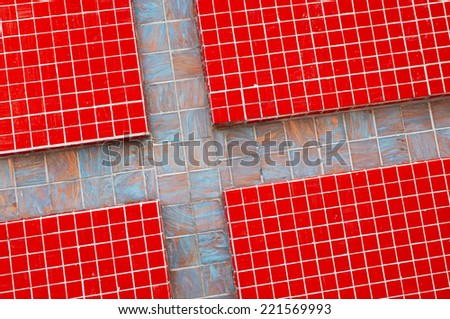 Detail of red tiles wall - stock photo