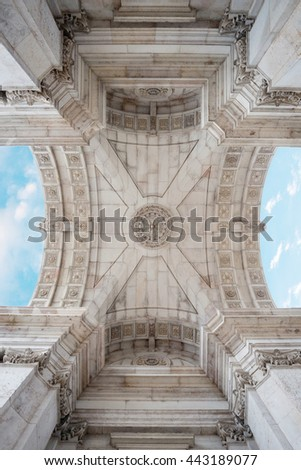 Detail of Rua Augusta Arch in Lisbon, Portugal - stock photo
