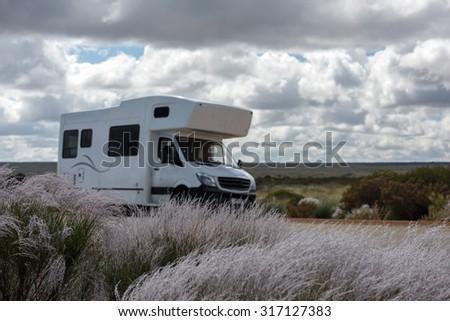 Detail of RV Camper in West Australia - stock photo