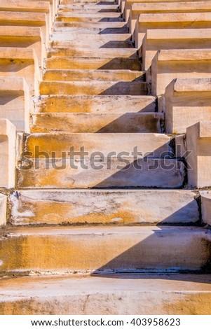 detail of seats in Panathenaic stadium or kallimarmaro in Athens - stock photo