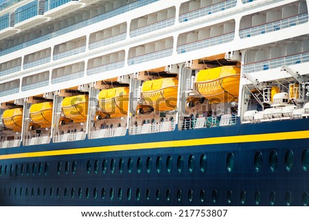 Detail of security boats of a cruise ship. Close up - stock photo