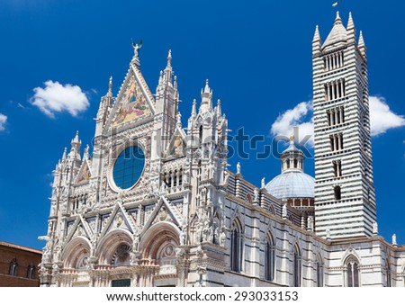 Detail of Siena cathedral in a sunny summer day, Tuscany, Italy, Europe. - stock photo