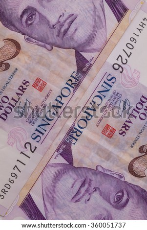 Detail of Singapore banknotes , close-up - stock photo