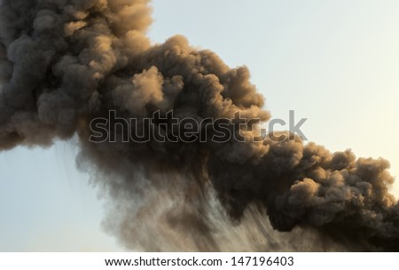 "Detail of smoke from a Volcanic Eruption at ""Stromboli"", Italy - stock photo"