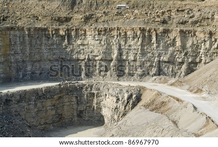 detail of some stone walls in a quarry in Southern Germany - stock photo