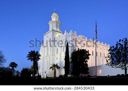 Detail of St George Utah LDS Mormon Temple in early morning light - stock photo