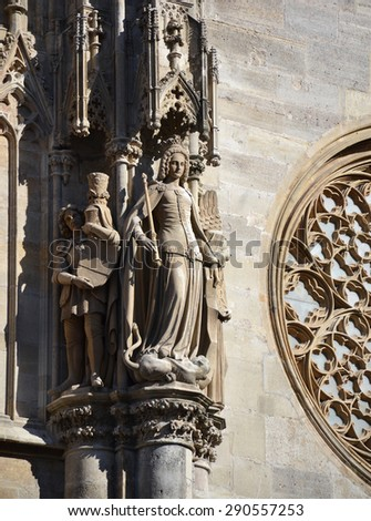Detail of St. Stephans Cathedral in Vienna, Austria - stock photo