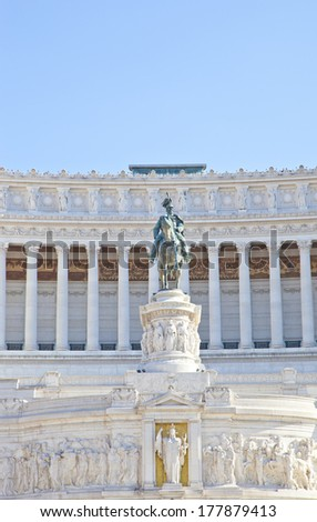 Detail of statue at Piazza Venezia, Rome, Italy - stock photo
