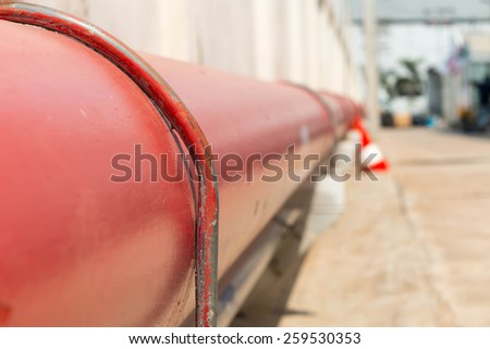 detail of steel light pipeline in oil refinery - stock photo